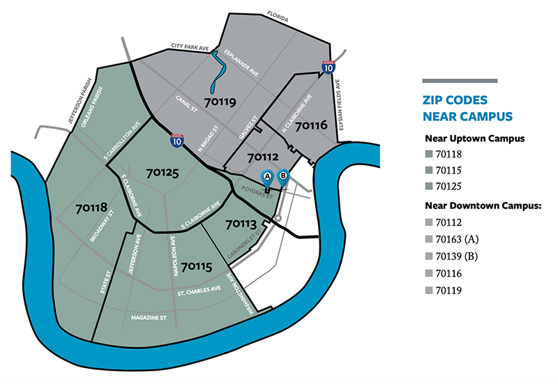 Zip Codes near campus