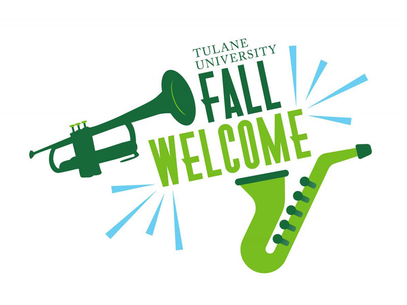 Fall Welcome logo with large trumpet and saxophone